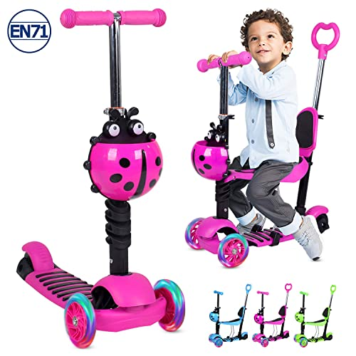 Wheel kick Scooter for Kids Mini Kick Scooter with Removable Adjustable Seat and Light Up Flashing Wheels Happykidz 3 Green