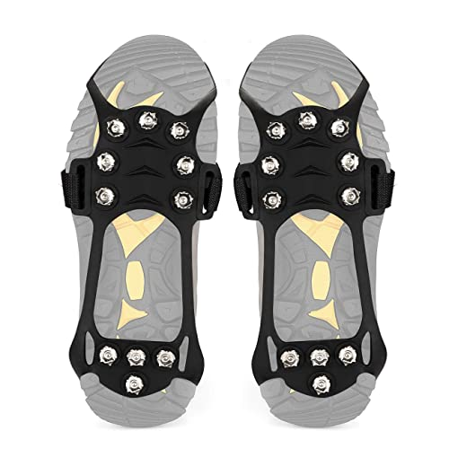 Climbing Snowing Ice Fishing New Upgrade Anti Slip Snow Grips with 10 Teeth Stainless Steel Durable Silicone for Ice Walking HONYAO Ice Grips Ice Traction Cleats Crampons Hiking
