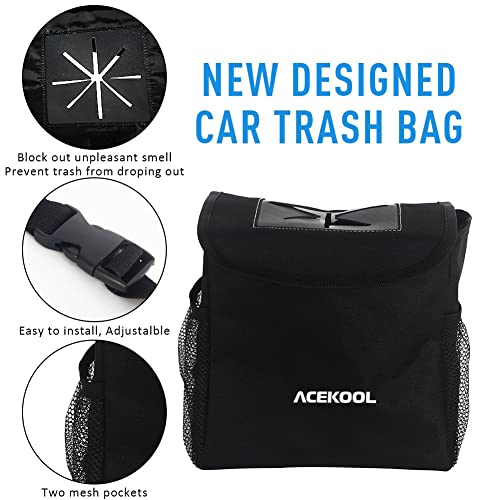 Acekool Car Trash Can with Lid and Storage Pockets,100/% Leak Proof Car Trash Container Car Garbage Bag Hanging for Headrest//Gearshift//Center Console