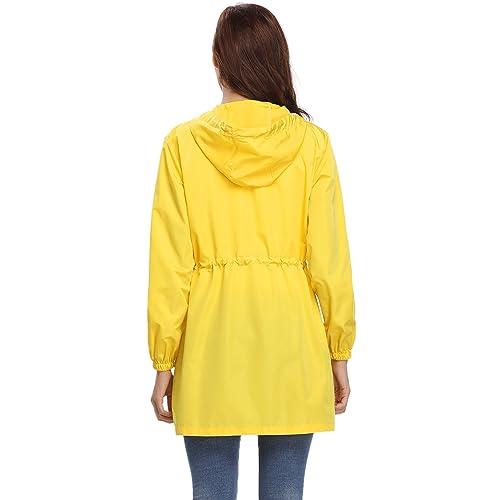 iWoo Ladies Waterproof Jacket Hooded Lightweight Raincoat Outdoor Zipped Lining Windbreaker with Flap Pockets for Women