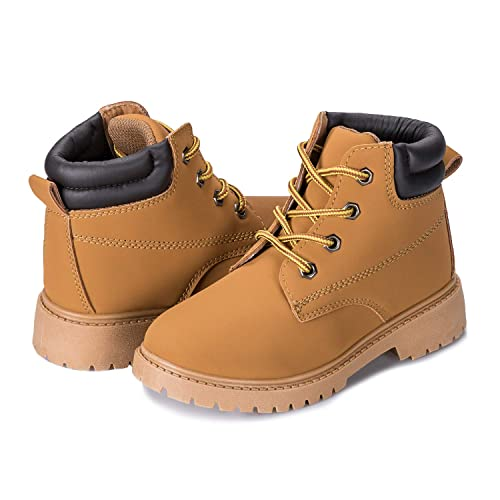 KVbabby Boys Girls Martin Boots Waterproof Leather Boot Outdoor Winter Boots with Zipper Non-Slip