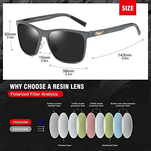 DUCO Unisex Metal Square Polarised Sunglasses With UV400 Protection For Outdoor
