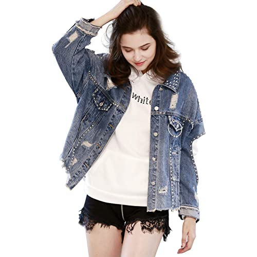 chouyatou Womens Fashion Button Front Boyfriend Destroyed Cotton Denim Trucker Jackets