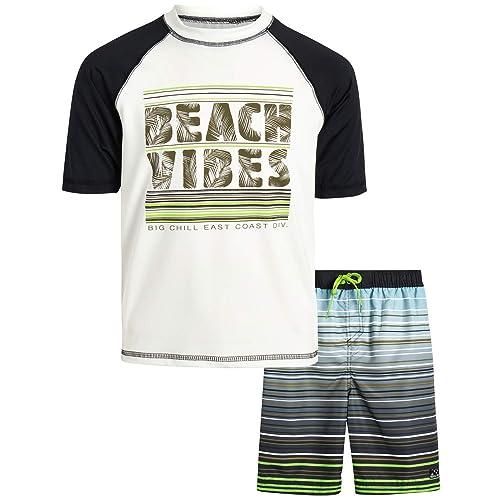 Big Chill Boys/' 2-Piece UPF 50 Short Sleeve Rashguard Shirt and Board Short Set