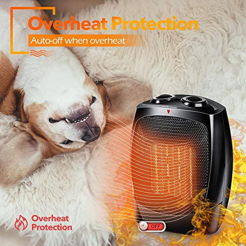 Space Heater 1500W Portable Heater 3 Modes Adjustable Fast Heat in 3s Thermostat