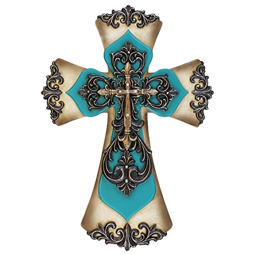 Buy Old River Decorative Layered Teal Tuscan Wall Cross Scrolly Fleur De Lis Online In Kuwait B01nbbv9we