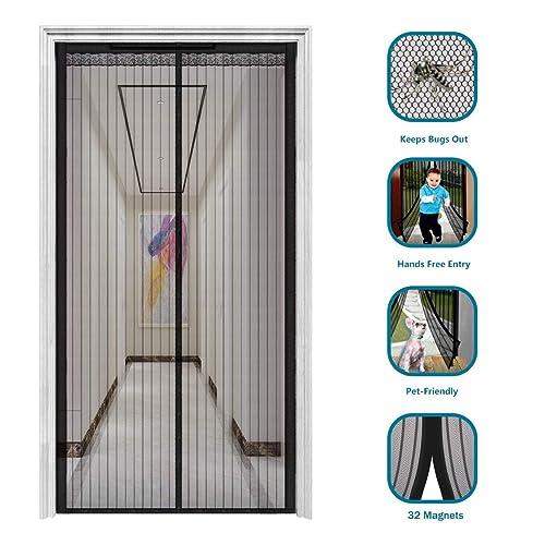 Surpass 72 Magnetic Screen Door for French Doors//Sliding Glass Doors//Patio Doors,Hands Free Instant Mesh Mosquito /& Bug Net Curtain Black X 80 h w