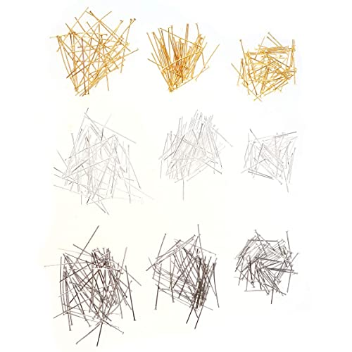 Artibetter Flat Head Pins Alloy T-Shaped Needle DIY Jewelry Making Accessory for Bracelet Necklace 9 Packs