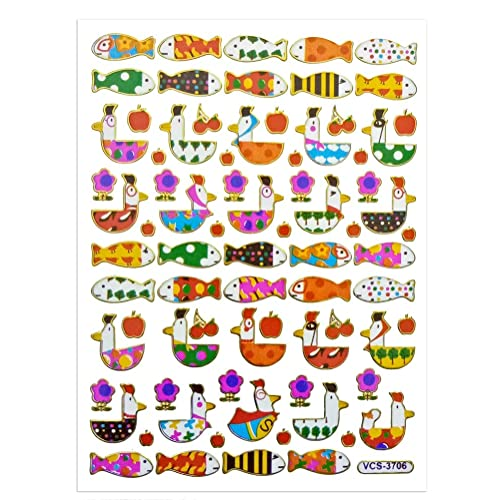 Photo Card ST12-FISHHEN Celebration Birthday Party Asian 108 Markets Fish and Hen Design Colorful Sticker Self-Adhesive Metallic Foil Decorative Scrapbook for Kid Album Diary