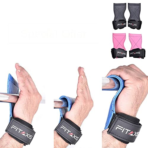 Premium Quality Gloves. FITAXIS Weight lifting grips straps adjustable for Dead-lifts,power lifting,gymnastic Cross-fit Training pull-push-ups.