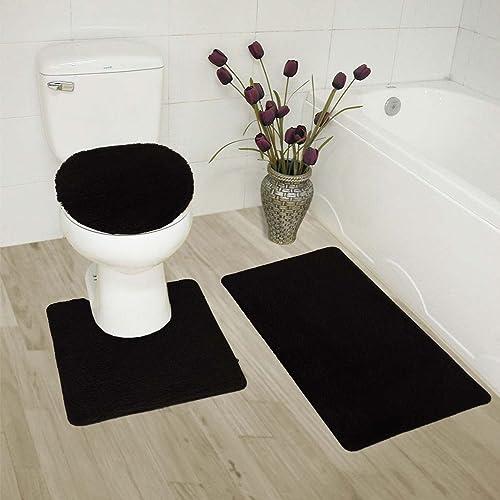 NEW 3PC BATHROOM SET INCLUDES 1 BATH RUG 1 CONTOUR MAT 1 TOILET LID COVER #6