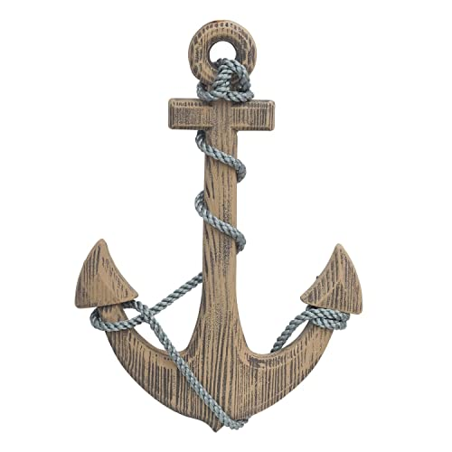 Buy Adeco Wooden Boat Anchor With Crossbar Steering Wheel Décor Home Wall Decor Light Brown Online In Kuwait B07cb8s332