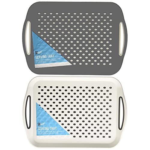 Non-Slip Padded Base and Easy Grip Handles Ideal for All Homes London Empire /® 2 Pack White High Grip Rubber Anti-Slip Top and Bottom Plastic Serving Surface Tray