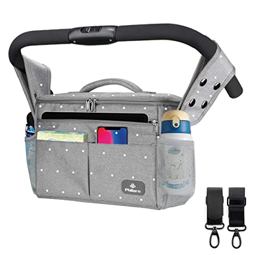 Multi-Use Bag for Stroller and Baby Pushchair with Extra-Large Storage Space and 2 Isolated Cup Holders Blue Amazy Baby Stroller Organizer