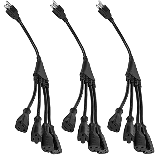 C2G 29808 16 AWG 1-to-4 Power Cord Splitter Black TAA Compliant 6 Feet, 1.82 Meters NEMA 5-15P to 4 NEMA 5-15R