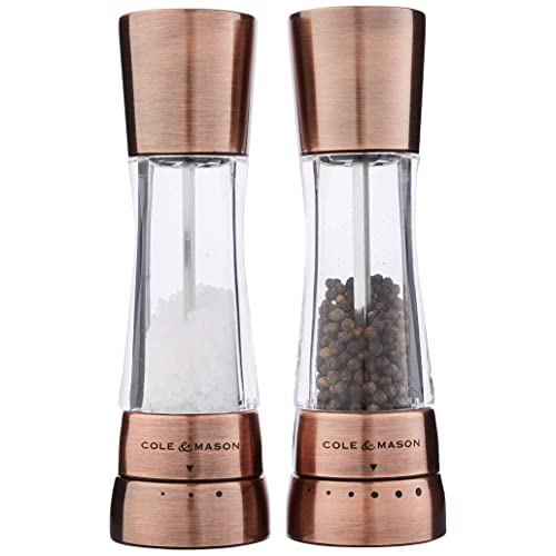 2 in 1 Dual Manual Salt and Pepper GrinderValue 1//2 Pack Set 2 Pack Mill Sleek Stainless Steel with Adjustable Ceramic Grinding Mechanism Clear Acrylic Body Design