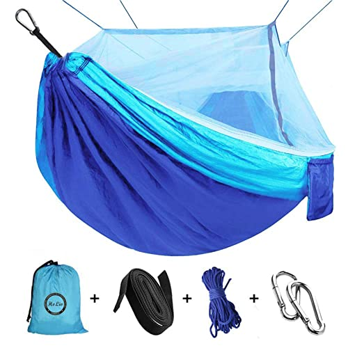 W HoLiv Camping Hammock with Net Mosquito x 59 Double Single Hammocks for Camping 110 L Parachute Fabric Camping Hammock Portable Nylon Hammock for Backpacking Camping Travel