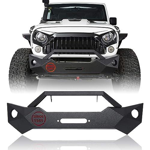 Hooke Road Front Bumper Cover Texured Black Offroad Skid Plate for 2007-2018 Jeep Wrangler JK
