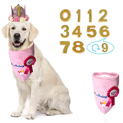 KEVIN-KW Dog Birthday Boy Bandana Scarfs-Crown Dog Birthday Hat with 0-9 Figures Charms Grooming Accessories Pack of 1 and Happy Birthday Award Badge