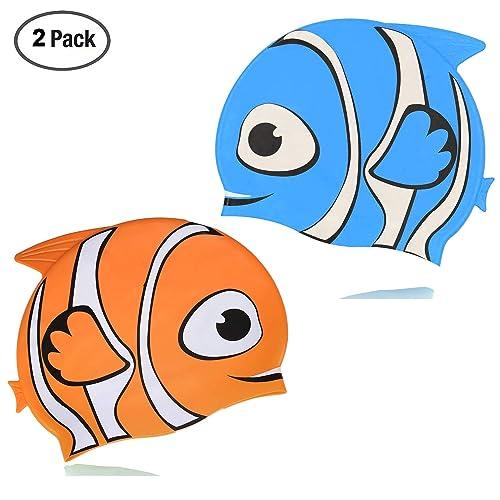 Silicone Swim Hat Cartoon Swimming Bath Cap for Children VGEBY1 2Pcs Kids Swimming Cap