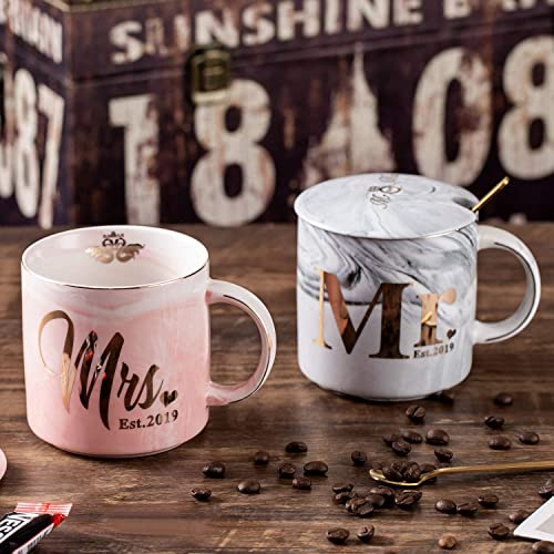 Ceramic Marble Coffee Mug 11.5oz Oyiyou Mr /& Mrs EST 2020 Wedding Bridal Shower and Engagement Couples Gifts for Bride and Groom To Be