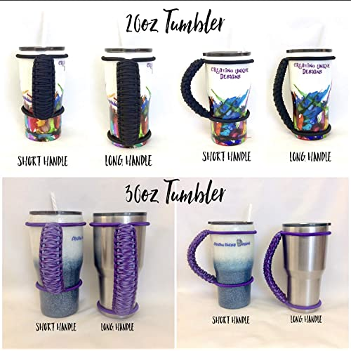 handle for custom and insulated tumblers Black middle and bungee with your choice of outer trim handmade colored bungee paracord made to fit most 20 30 32 40 oz