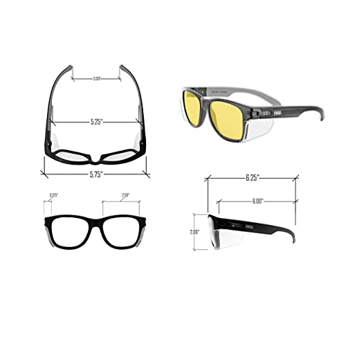 1 Pair Scratch /& Fog Resistant ANSI Z87+ Performance Cloth Case Included MAGID Y50BKAFA Iconic Y50 Design Series Safety Glasses with Side Shields Amber Lens Reduce Eye Strain /& Fatigue