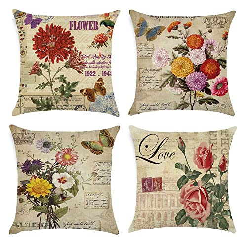 Couch 18 x 18 Inches Lawei 6 Pack Vintage Flower Style Throw Pillow Covers Cases Cotton Linen Square Decorative Cushion Covers for Sofa
