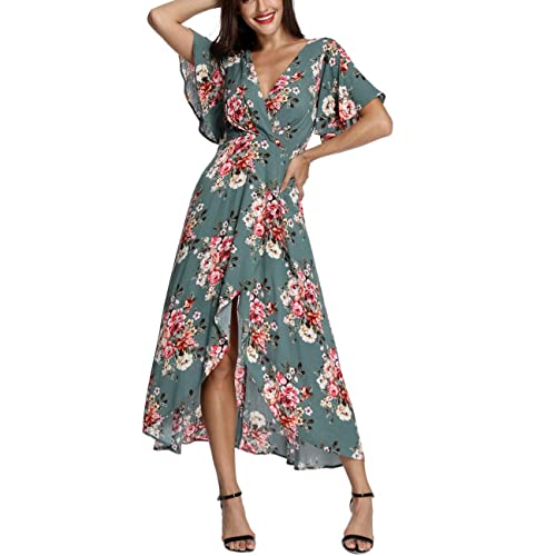 Azalosie Wrap Maxi Dress Short Sleeve V Neck Floral Flowy Front Slit High Low Women Beach Party Wedding Dress Buy Products Online With Ubuy Kuwait In Affordable Prices B07hfw3fvx
