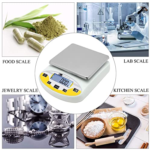CGOLDENWALL Lab Digital 0.01g Precision Analytical Balance Lab Scale Precision Scale Laboratory Weighing Electronic Balance Jewelry Scales Gold Balance Kitchen Scales Yellow Calibrated 300g