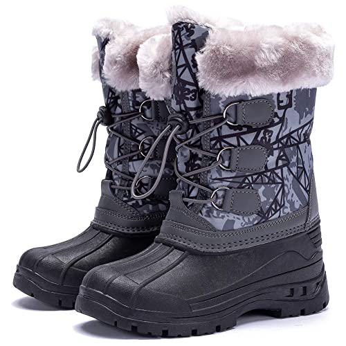 ODOUK Boys Girls Warm Snow Boots Cold Weather Outdoor Waterproof Winter Boots Toddler//Little Kid