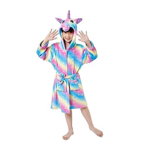 Unicorn Design Hooded Robe Skin Friendly /& Soft Bathrobe for Girls 3 To 11 Y