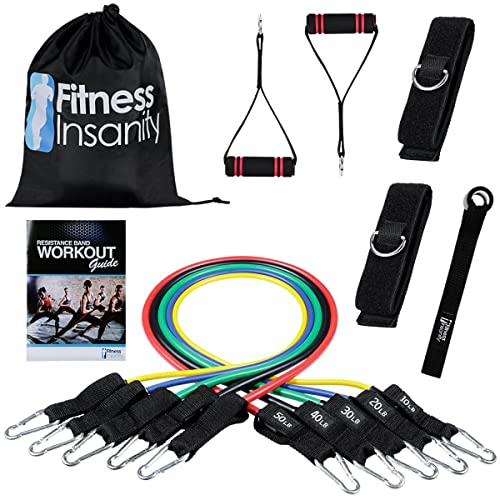 5 Stackable Exercise Bands with Waterproof Carrying Case Legs Ankle Straps /& Guide eBook for Training Grande Juguete Resistance Band Set Door Anchor Attachment Physical Therapy Home Workout