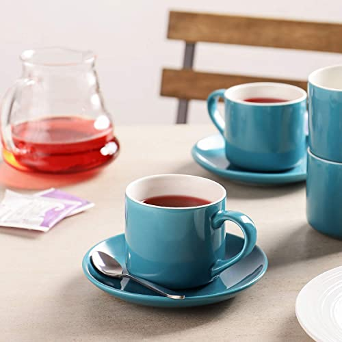 Set of 4 Fashionable Blue Cappuccino Cups with Saucers 7 Ounces Porcelain Demitasse Cup and Saucer Sets for Coffee or Tea LIFVER
