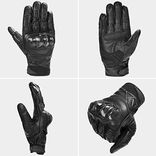 EVO Professional Leather Motorbike Motorcycle Gloves Heavy Duty Thinsulate 3M Hipora Windproof Waterproof Winter All Weather Thermal Carbon Shell Fiber Knuckle Smartphone Touch Compatible Gloves