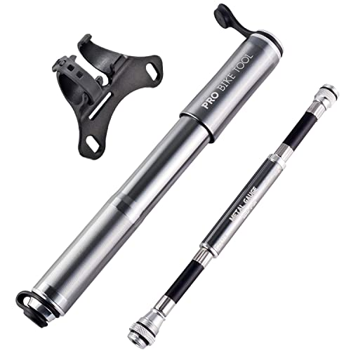 Tool Bike Pump with Gauge Fits Presta Schrader Mini Bicycle Tire Pump for Road