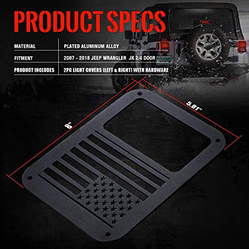 Precision Made Rustproof Tail Lamp Guards with Hardware for 2007-2018 JK and JKU Bulletproof Mounting Solutions Jeep Wrangler Tail Light Covers Tent Pair