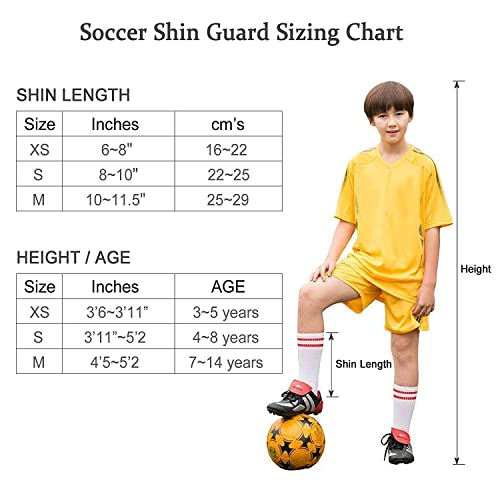 Kids Football Equipment with Ankle Sleeves Protection TAGVO Football Shin Guards Youth Sizes Child Football Shin Pads for Boys Girls
