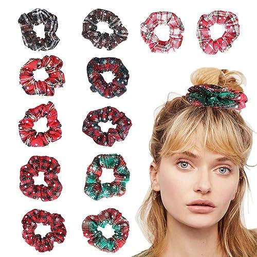 Women Plaid Hair Scrunchies Ponytail Holder Elastic Rope Hair Band Bright Color