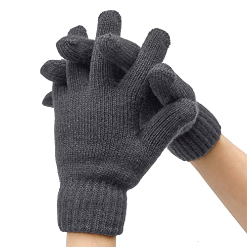 Aneco 2 Pairs Thick Thermal Lined Winter Gloves Stretchy Plush Lining Knitted Gloves for Men or Women