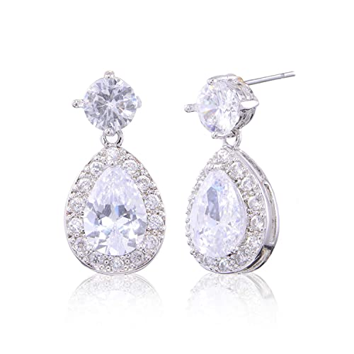 Pave Teardrop Earrings for Wedding 925 Sterling Silver Full Prong Cubic Zirconia Crystal CZ Birthstone Bridal Dangle Earrings for Bride Bridesmaids Mother of Bride Elegant Jewelry for Women
