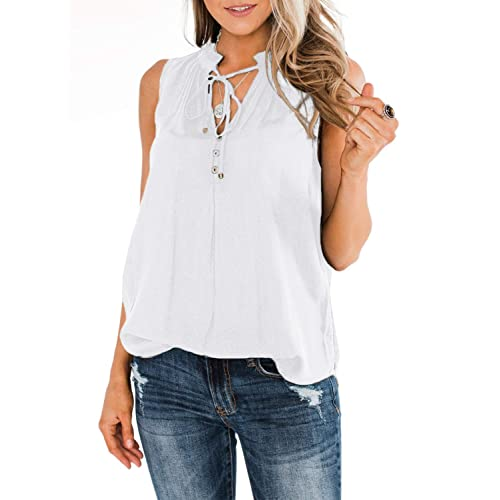 EVALESS Women V Neck Lace Trim Cami Tank Tops Casual Summer Sleeveless Shirts Pullover Blouses