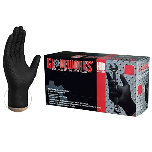 Powder- and latex-free Size: L Ultra-thick disposable nitrile gloves Hevea Colour: Black Large Pack of 2 boxes with 100 gloves each