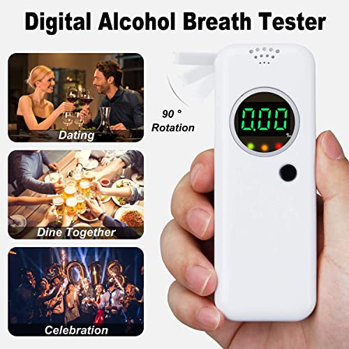 Yishijia Alcohol Breathalyzer High Accuracy Alcohol Detector Automatic Power off Portable Breath Alcohol Tester with LCD Display Digital Fast 3 X Mouthpieces -Blue Valentines Gift for Husband