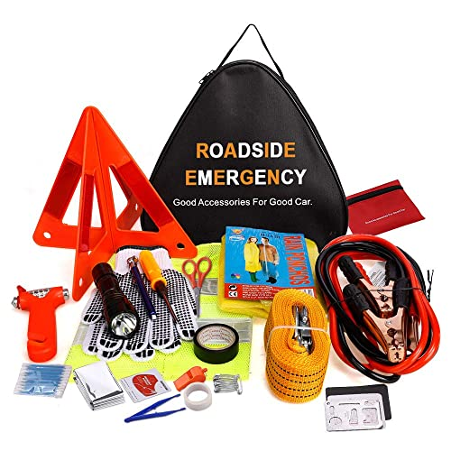 Electop Roadside Assistance Auto Emergency Kit 66 Pieces-In-1 Car Safety Kit with Jumper Cables,LED Road Flare Warning Light,Tow Rope,Triangle,Tire Pressure Gauge and More for Your Car Truck SUV