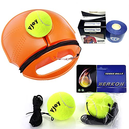 Yue Tennis Trainer,Tennis Training Equipment,Self-Study Tennis Training Practice Tool with 2 Rebound Ball and Anti-slide Baseboard Anti-tangle String for Adult and Kids Beginner