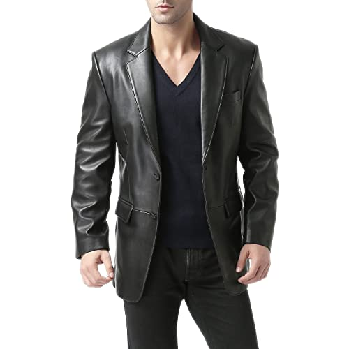 Mens Classic Blazer Suit 100/% Real Leather Jacket Black /'All Sizes/' #G4