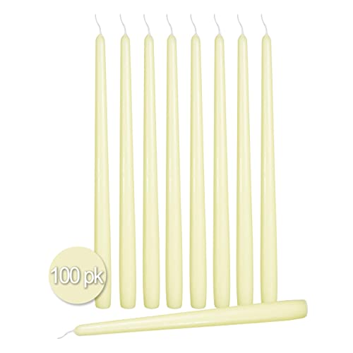 Ivory Classic Hand Dipped Taper Candles 10 Inch Tall Set of 12