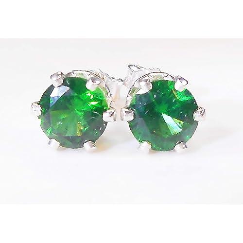 Emerald Green Cubic Zirconia Stud Earrings Handmade Unisex Mens Womens 6mm 1 Carat 1PCS 925 Sterling Silver 6 Prong Settings