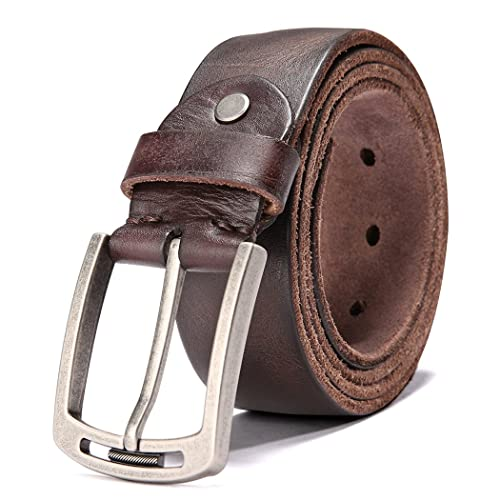 "Men'S Casual Leather Jeans Belts 1 1//2"" Wide 4MM Thick Alloy Prong Buckle Work D"